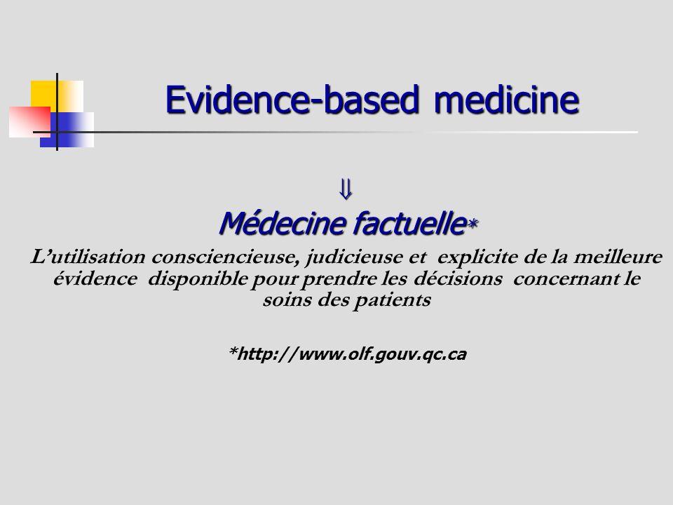 Evidence-based medicine Médecine factuelle * Lutilisation consciencieuse, judicieuse et explicite de la meilleure évidence disponible pour prendre les