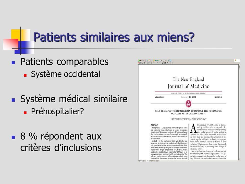 Patients similaires aux miens? Patients comparables Patients comparables Système occidental Système occidental Système médical similaire Système médic