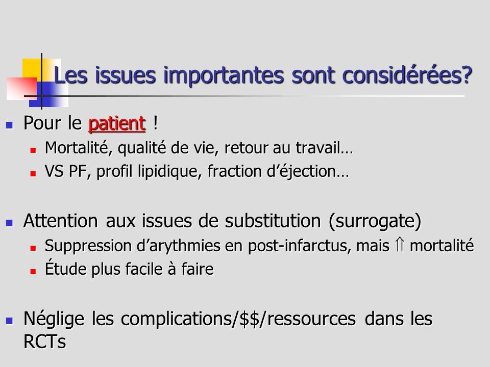 Les issues importantes sont considérées? Pour le patient ! Pour le patient ! Mortalité, qualité de vie, retour au travail… Mortalité, qualité de vie,