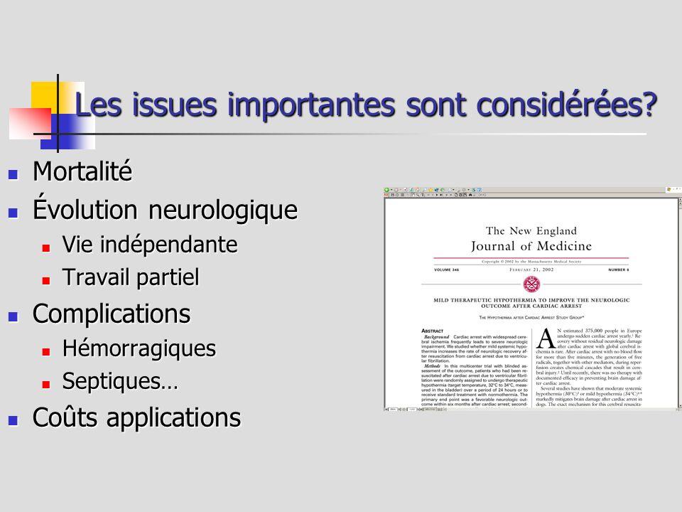 Les issues importantes sont considérées? Mortalité Mortalité Évolution neurologique Évolution neurologique Vie indépendante Vie indépendante Travail p