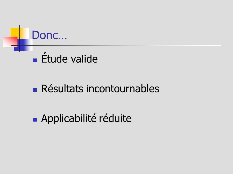 Donc… Étude valide Résultats incontournables Applicabilité réduite
