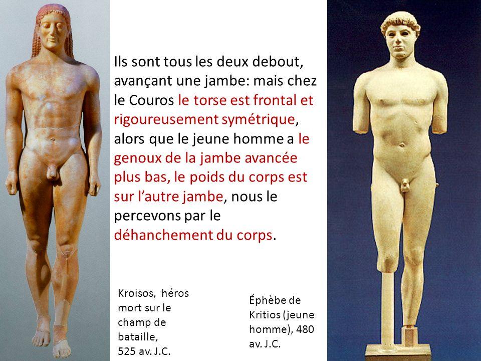 Kroisos, héros mort sur le champ de bataille, 525 av. J.C. Éphèbe de Kritios (jeune homme), 480 av. J.C. Ils sont tous les deux debout, avançant une j