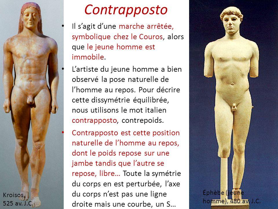 Kroisos, 525 av. J.C. Éphèbe (jeune homme), 480 av. J.C. Il sagit dune marche arrêtée, symbolique chez le Couros, alors que le jeune homme est immobil
