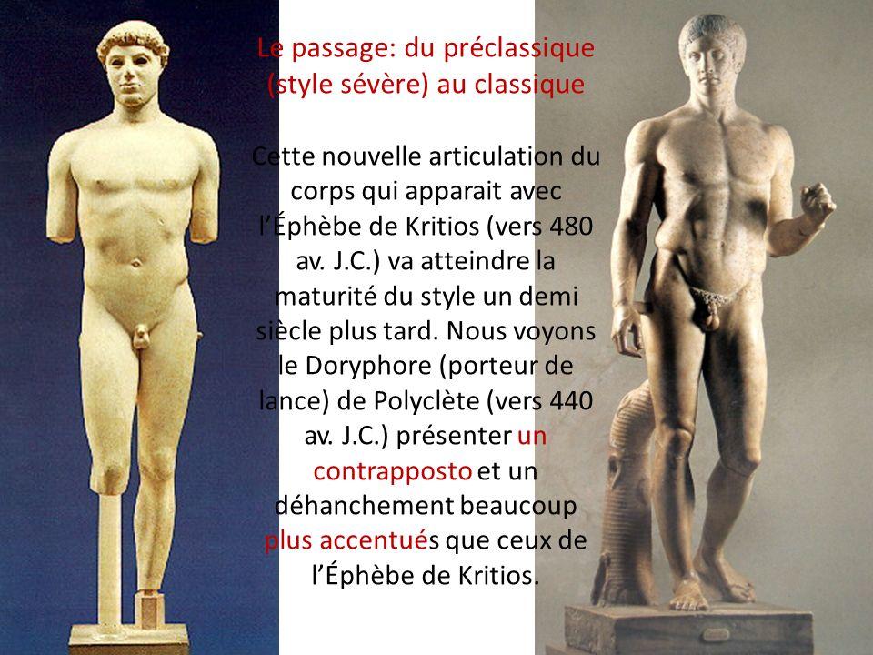 Le passage: du préclassique (style sévère) au classique Cette nouvelle articulation du corps qui apparait avec lÉphèbe de Kritios (vers 480 av. J.C.)