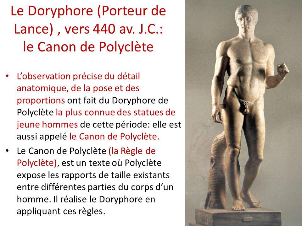 Le Doryphore (Porteur de Lance), vers 440 av. J.C.: le Canon de Polyclète Lobservation précise du détail anatomique, de la pose et des proportions ont