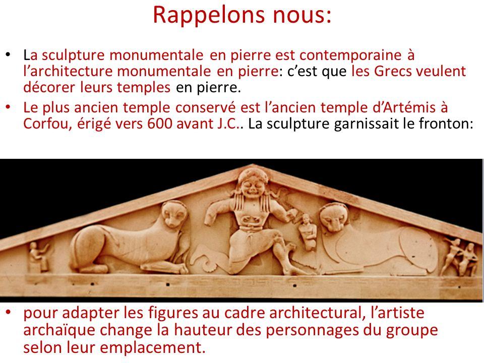 Rappelons nous: La sculpture monumentale en pierre est contemporaine à larchitecture monumentale en pierre: cest que les Grecs veulent décorer leurs t