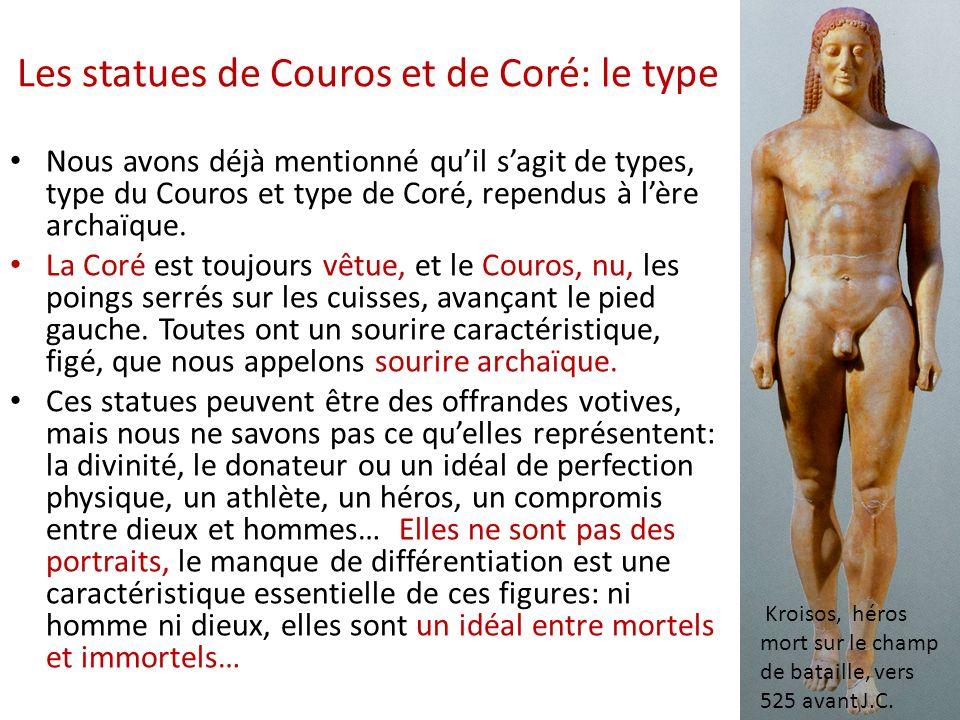 Les statues de Couros et de Coré: le type Nous avons déjà mentionné quil sagit de types, type du Couros et type de Coré, rependus à lère archaïque. La
