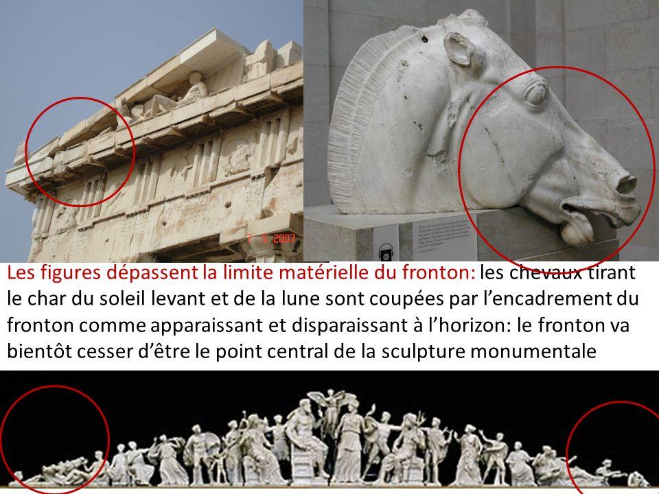 Les figures dépassent la limite matérielle du fronton: les chevaux tirant le char du soleil levant et de la lune sont coupées par lencadrement du fron