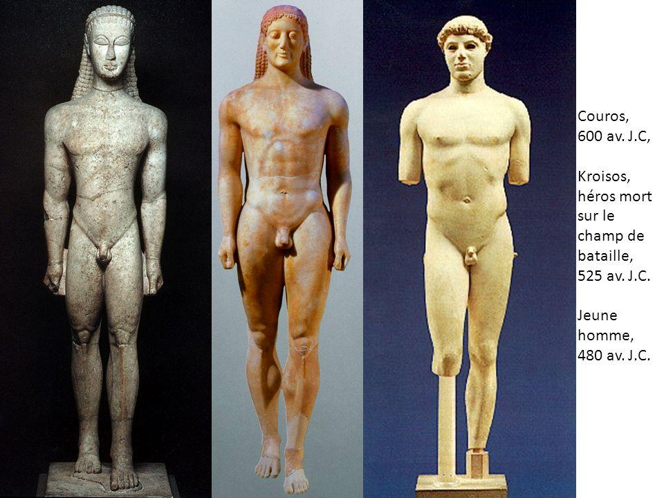Couros, 600 av. J.C, Kroisos, héros mort sur le champ de bataille, 525 av. J.C. Jeune homme, 480 av. J.C.