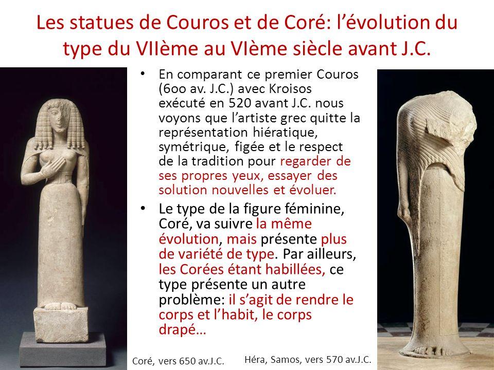 Les statues de Couros et de Coré: lévolution du type du VIIème au VIème siècle avant J.C. Héra, Samos, vers 570 av.J.C. Coré, vers 650 av.J.C. En comp