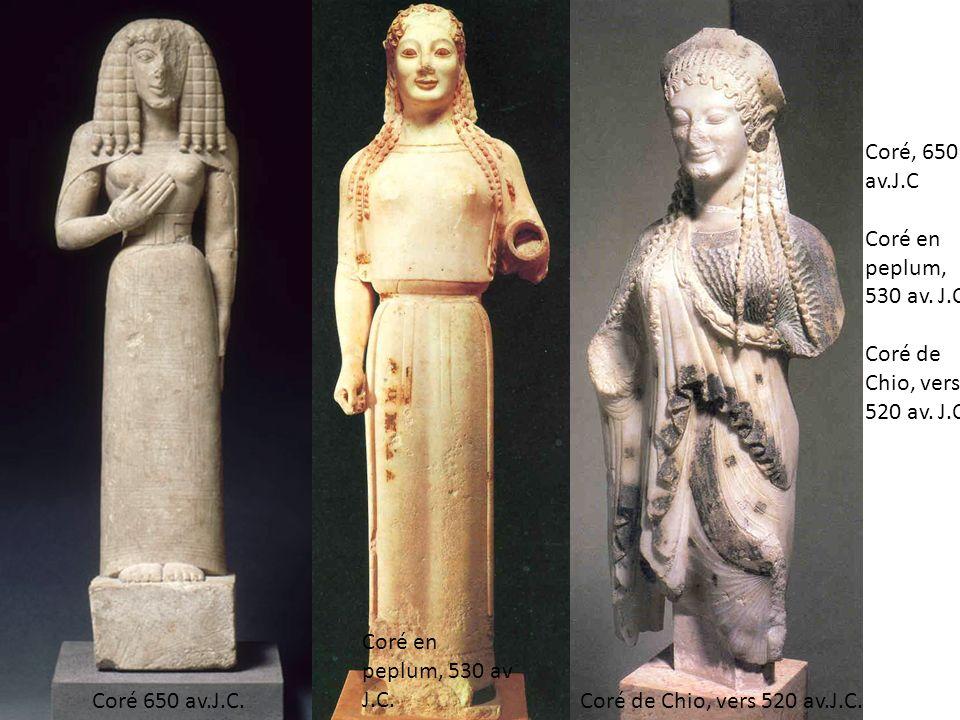 Coré, 650 av.J.C Coré en peplum, 530 av. J.C. Coré de Chio, vers 520 av. J.C. Coré en peplum, 530 av J.C. Coré de Chio, vers 520 av.J.C.Coré 650 av.J.