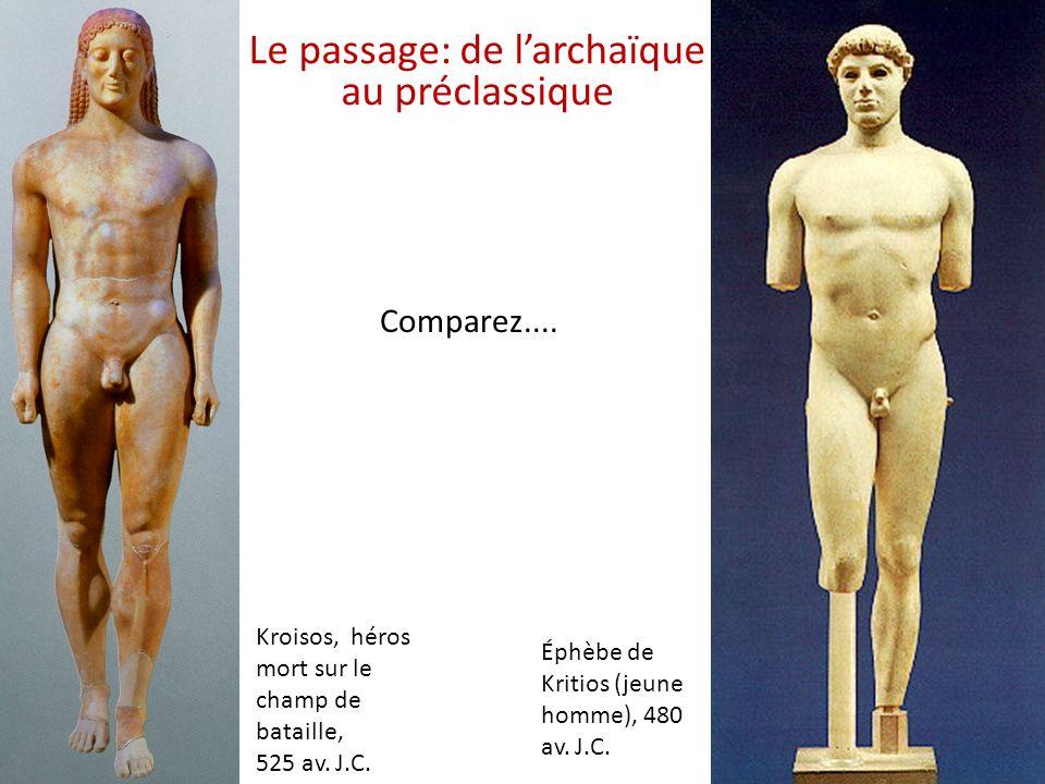 Kroisos, héros mort sur le champ de bataille, 525 av. J.C. Éphèbe de Kritios (jeune homme), 480 av. J.C. Comparez.... Le passage: de larchaïque au pré