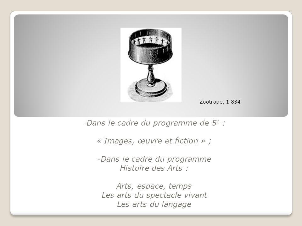 -Dans le cadre du programme de 5 e : « Images, œuvre et fiction » ; -Dans le cadre du programme Histoire des Arts : Arts, espace, temps Les arts du sp