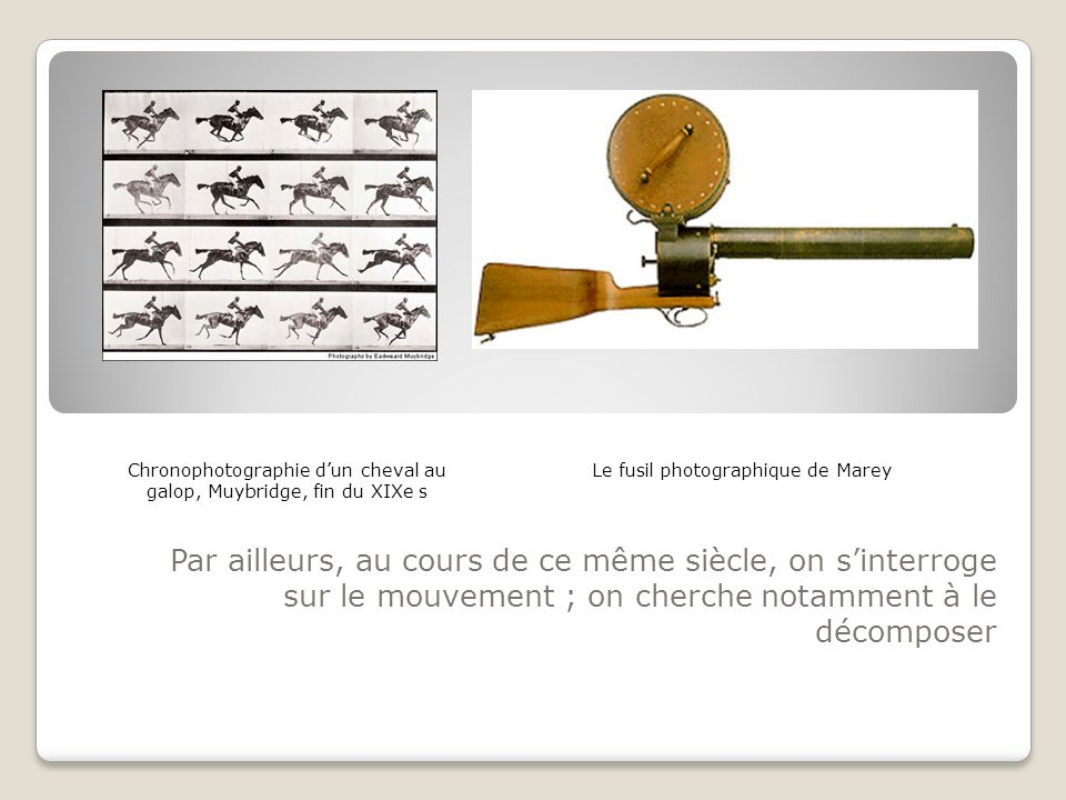 Par ailleurs, au cours de ce même siècle, on sinterroge sur le mouvement ; on cherche notamment à le décomposer Le fusil photographique de MareyChrono