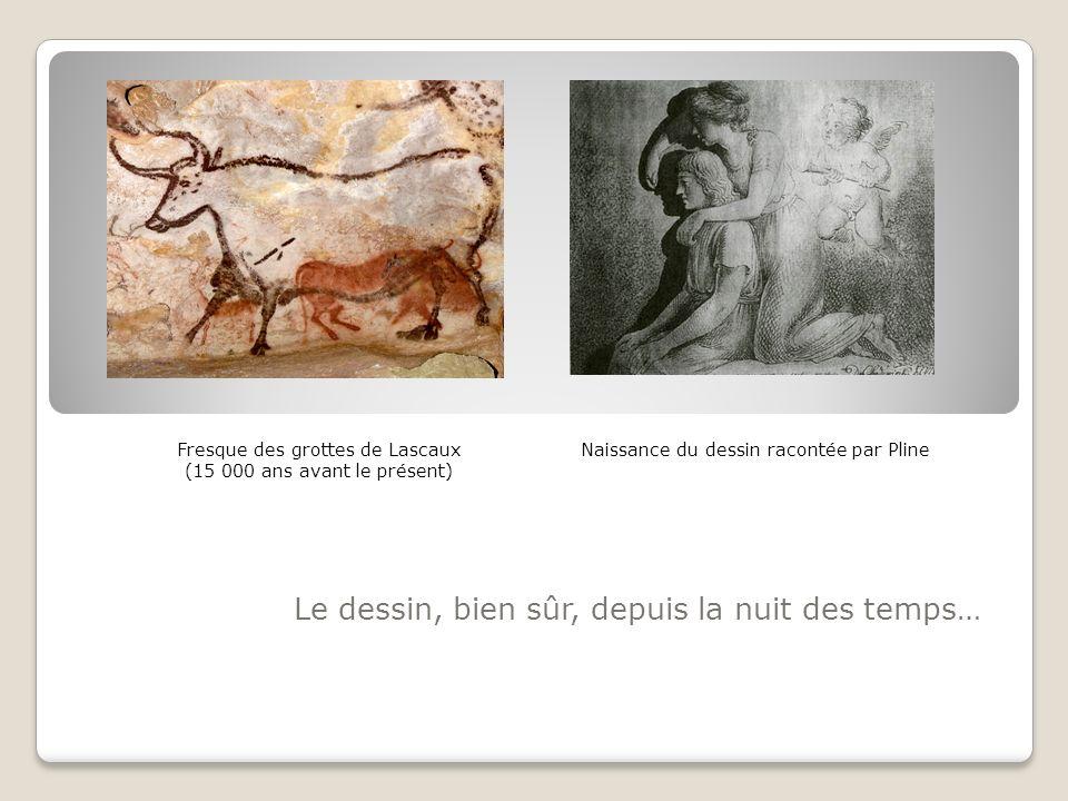Le dessin, bien sûr, depuis la nuit des temps… Naissance du dessin racontée par PlineFresque des grottes de Lascaux (15 000 ans avant le présent)