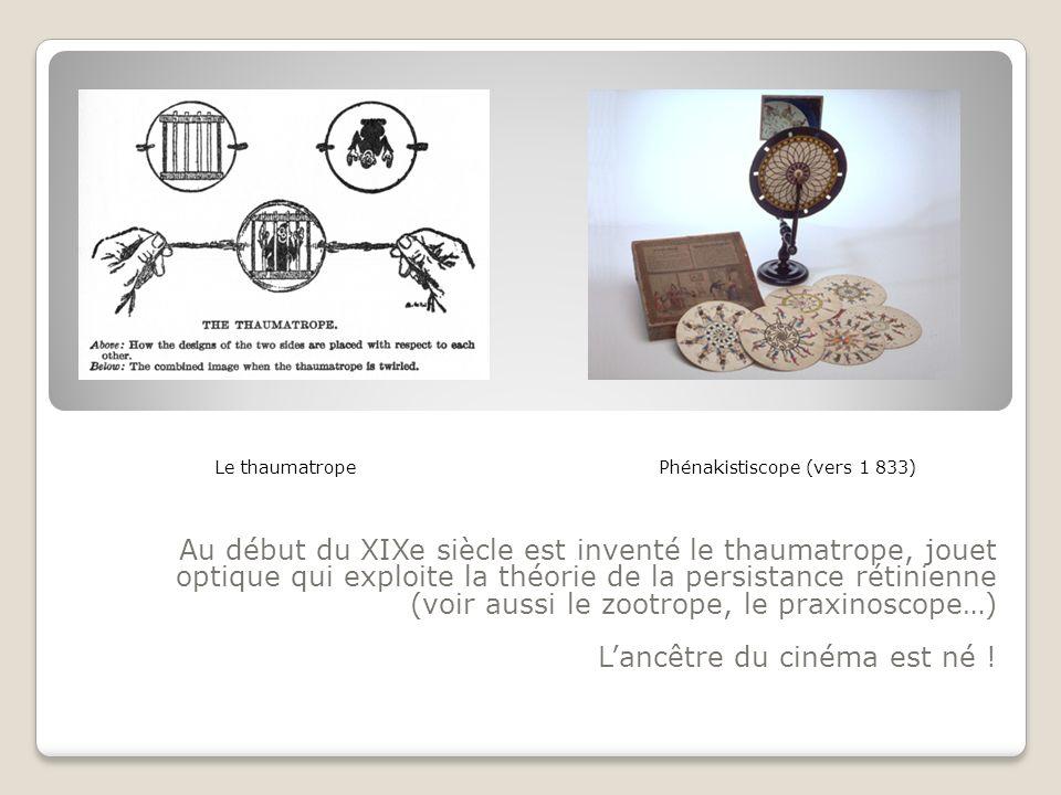 Au début du XIXe siècle est inventé le thaumatrope, jouet optique qui exploite la théorie de la persistance rétinienne (voir aussi le zootrope, le pra