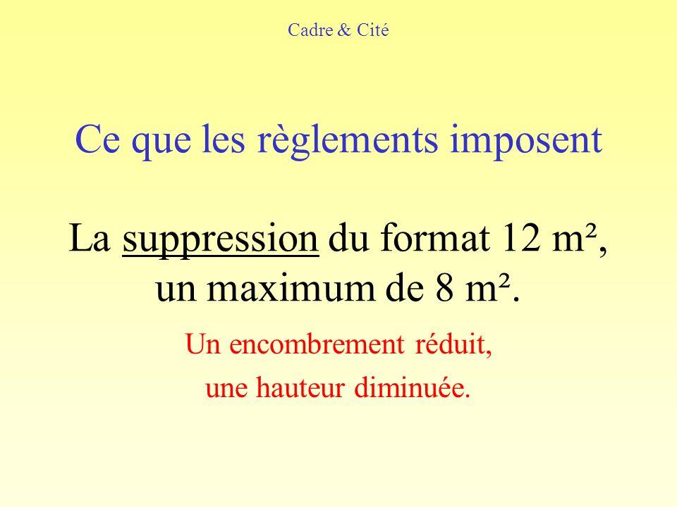 Ce que les règlements imposent La suppression du format 12 m², un maximum de 8 m².