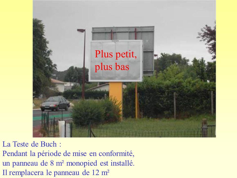 La Teste de Buch : Pendant la période de mise en conformité, un panneau de 8 m² monopied est installé.