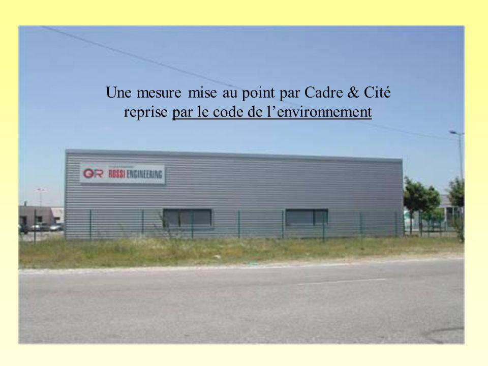 Une mesure mise au point par Cadre & Cité reprise par le code de lenvironnement