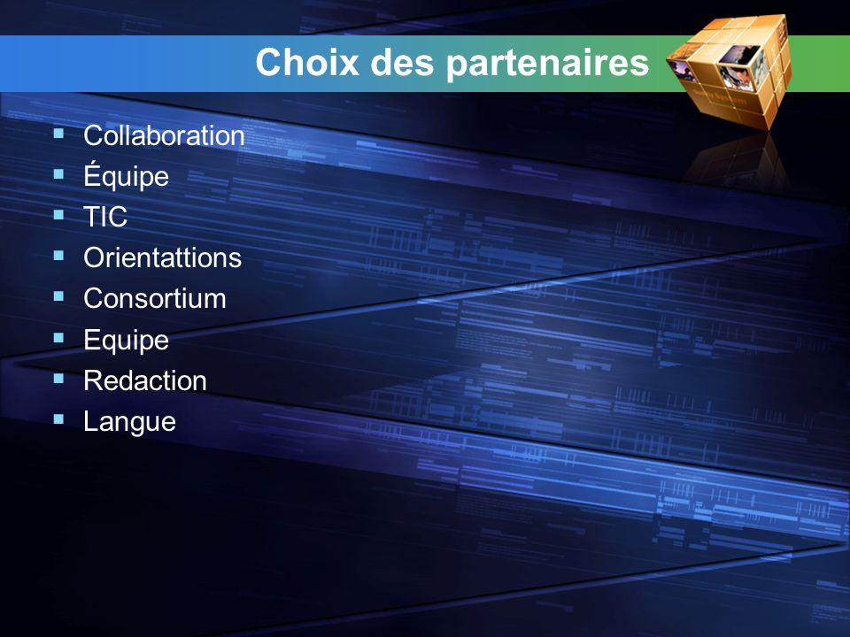Choix des partenaires Collaboration Équipe TIC Orientattions Consortium Equipe Redaction Langue