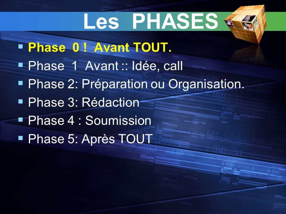 Les PHASES Phase 0 ! Avant TOUT. Phase 1 Avant :: Idée, call Phase 2: Préparation ou Organisation. Phase 3: Rédaction Phase 4 : Soumission Phase 5: Ap