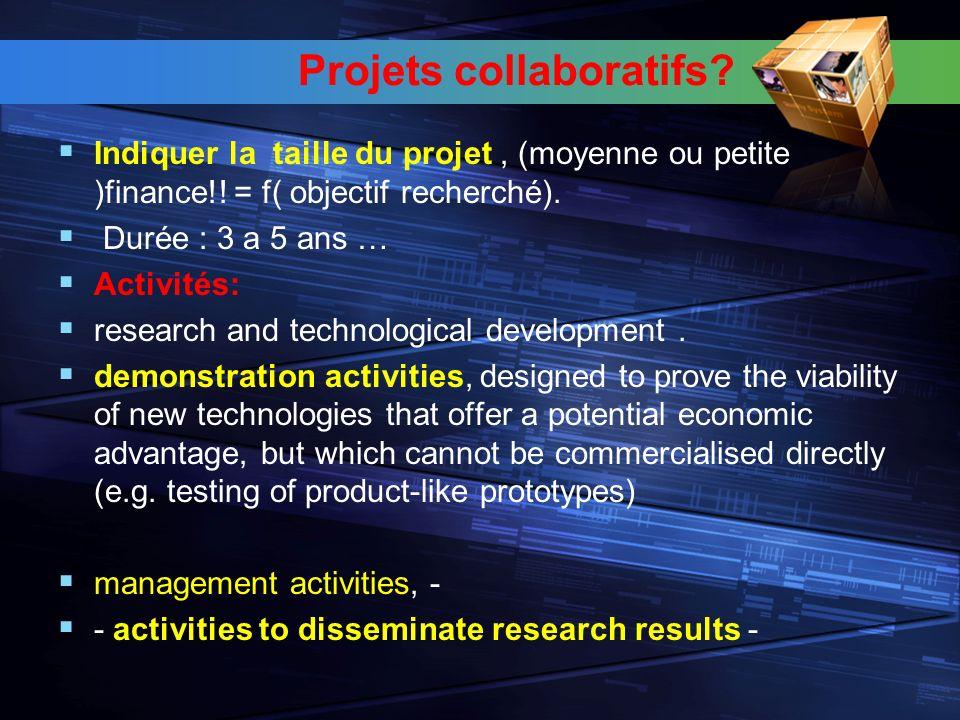 Projets collaboratifs. Indiquer la taille du projet, (moyenne ou petite )finance!.