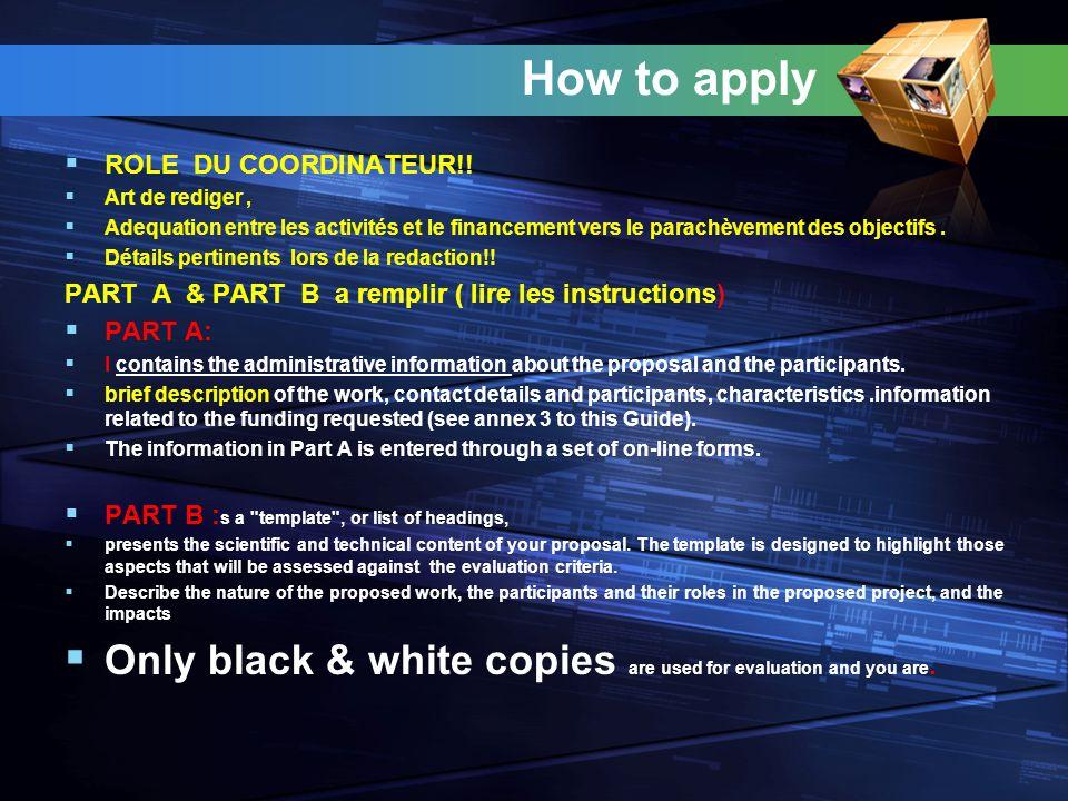 How to apply ROLE DU COORDINATEUR!.