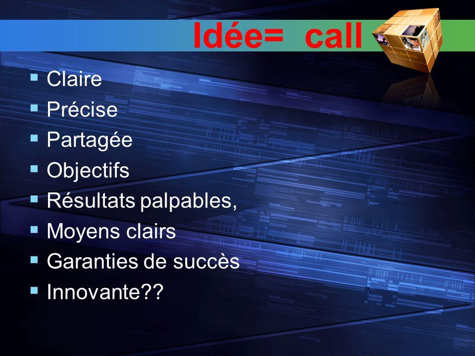 Idée= call Claire Précise Partagée Objectifs Résultats palpables, Moyens clairs Garanties de succès Innovante