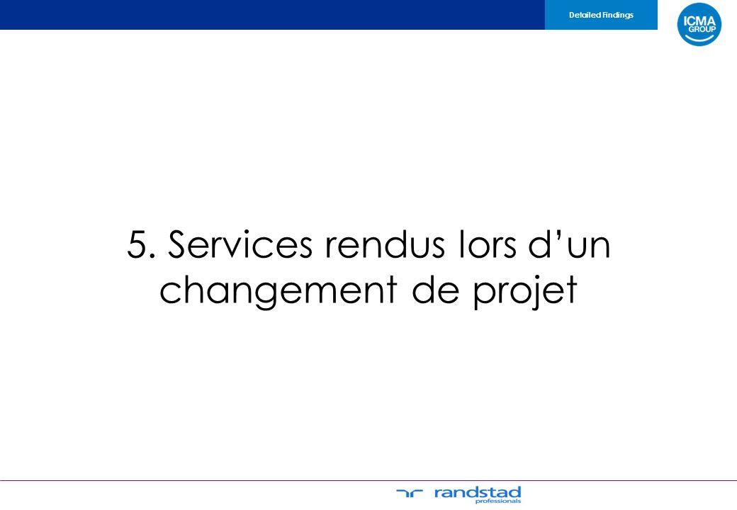 5. Services rendus lors dun changement de projet Detailed Findings