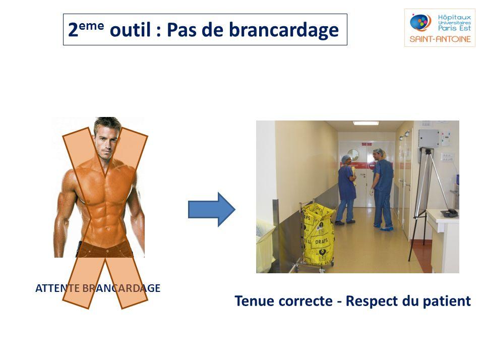 ATTENTE BRANCARDAGE Tenue correcte - Respect du patient 2 eme outil : Pas de brancardage