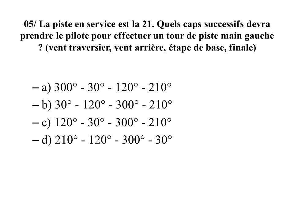 05/ La piste en service est la 21. Quels caps successifs devra prendre le pilote pour effectuer un tour de piste main gauche ? (vent traversier, vent