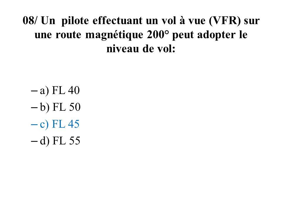 08/ Un pilote effectuant un vol à vue (VFR) sur une route magnétique 200° peut adopter le niveau de vol: – a) FL 40 – b) FL 50 – c) FL 45 – d) FL 55