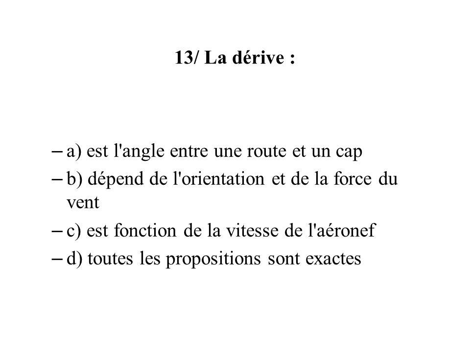 13/ La dérive : – a) est l'angle entre une route et un cap – b) dépend de l'orientation et de la force du vent – c) est fonction de la vitesse de l'aé