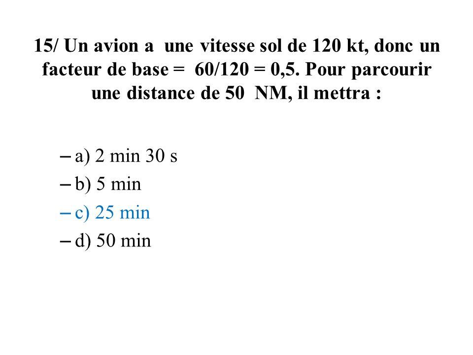15/ Un avion a une vitesse sol de 120 kt, donc un facteur de base = 60/120 = 0,5. Pour parcourir une distance de 50 NM, il mettra : – a) 2 min 30 s –