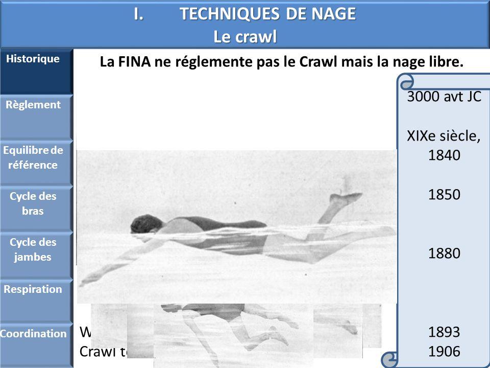 I.TECHNIQUES DE NAGE Le crawl Historique Règlement Equilibre de référence Cycle des bras Cycle des jambes Respiration Coordination Nage « naturelle »
