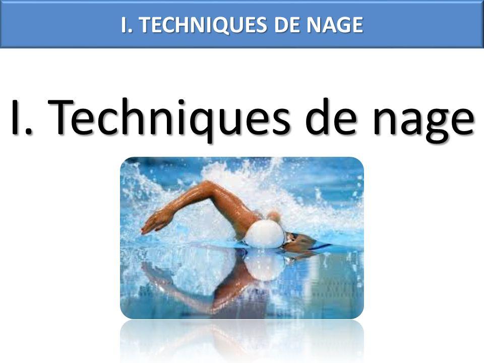 I. TECHNIQUES DE NAGE I. Techniques de nage