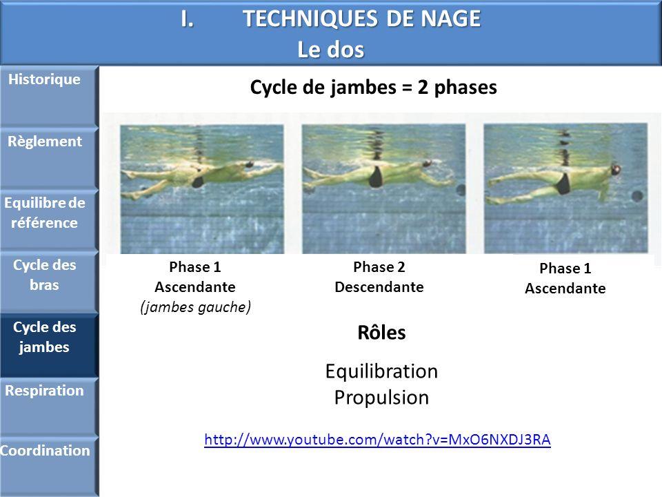 I.TECHNIQUES DE NAGE Le dos Cycle de jambes = 2 phases Historique Règlement Equilibre de référence Cycle des bras Cycle des jambes Respiration Coordin