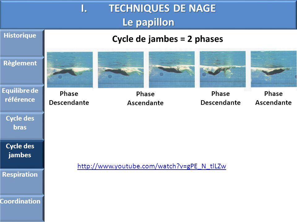 I.TECHNIQUES DE NAGE Le papillon Historique Règlement Equilibre de référence Cycle des bras Cycle des jambes Respiration Coordination Cycle de jambes