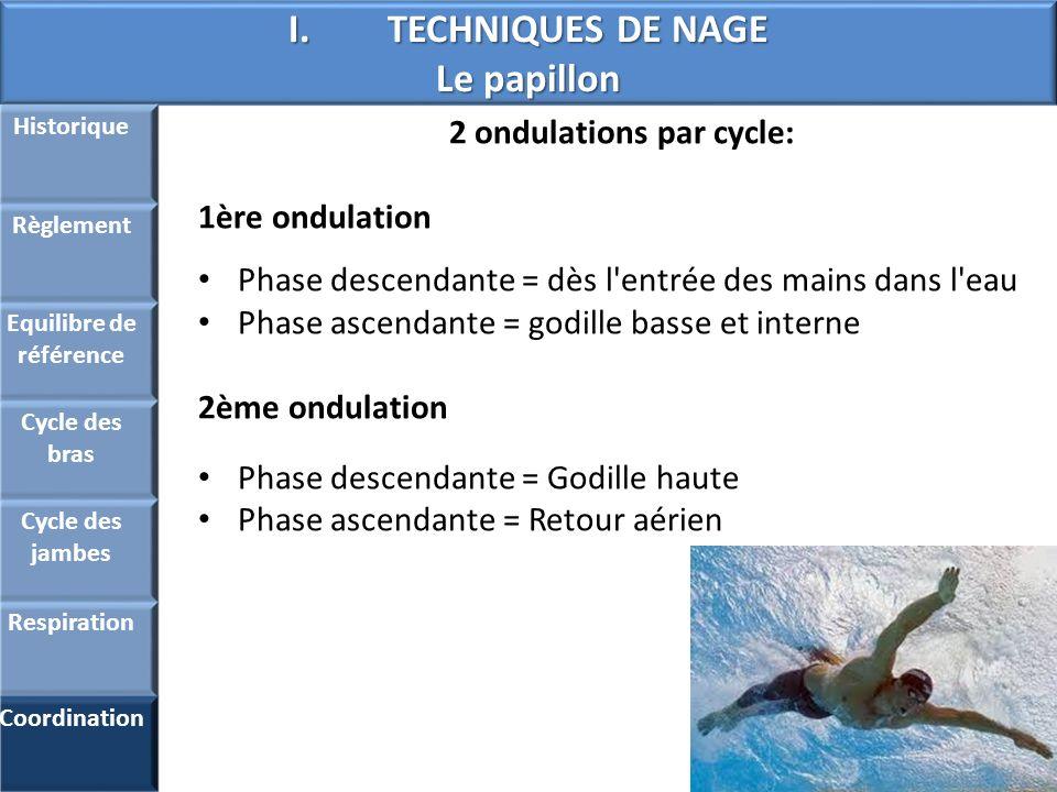 I.TECHNIQUES DE NAGE Le papillon Historique Règlement Equilibre de référence Cycle des bras Cycle des jambes Respiration Coordination 2 ondulations pa