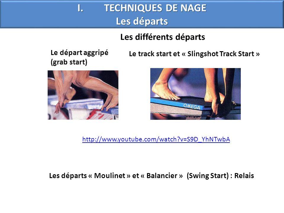 I.TECHNIQUES DE NAGE Les départs Le départ aggripé (grab start) Le track start et « Slingshot Track Start » Les départs « Moulinet » et « Balancier »
