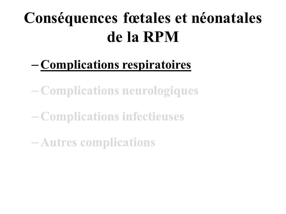 Conséquences fœtales et néonatales de la RPM –Complications respiratoires –Complications neurologiques –Complications infectieuses –Autres complications