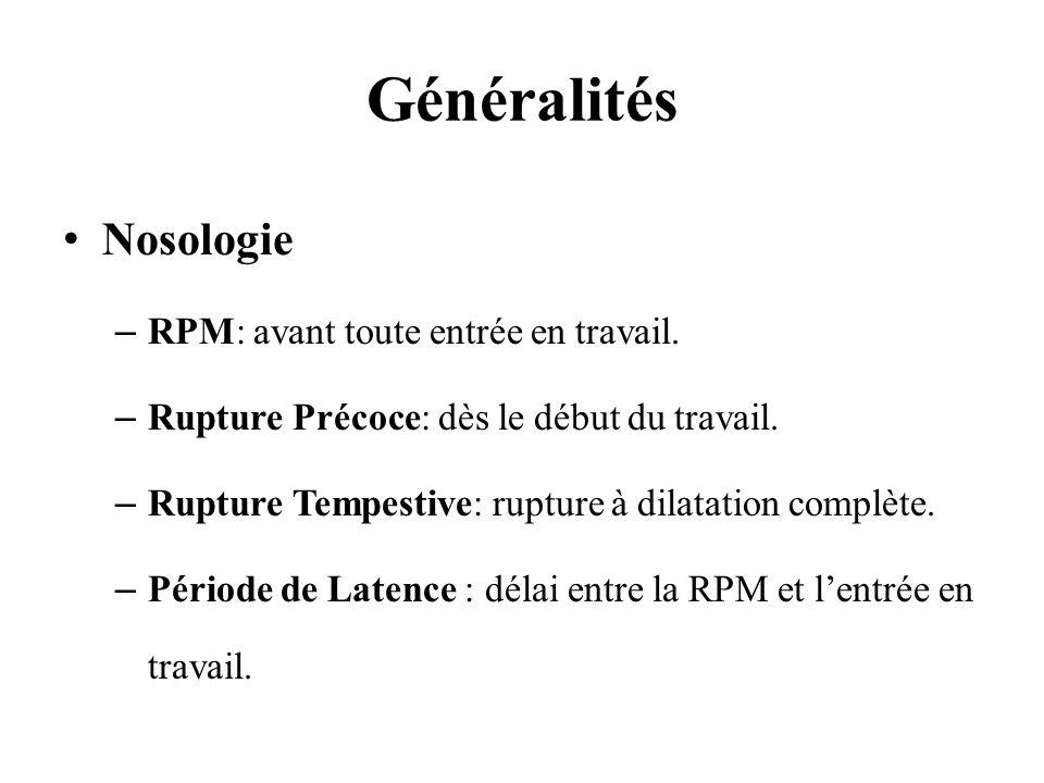 Généralités Nosologie –RPM: avant toute entrée en travail. –Rupture Précoce: dès le début du travail. –Rupture Tempestive: rupture à dilatation complè