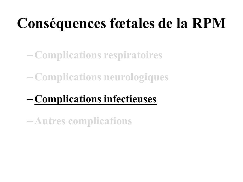 Conséquences fœtales de la RPM –Complications respiratoires –Complications neurologiques –Complications infectieuses –Autres complications