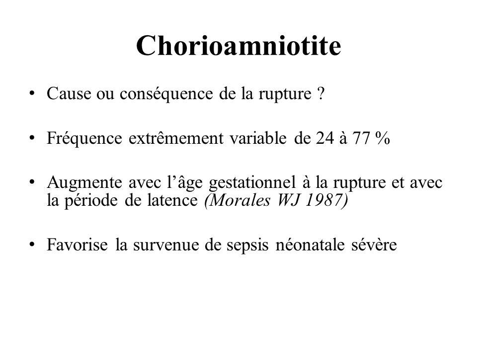 Chorioamniotite Cause ou conséquence de la rupture ? Fréquence extrêmement variable de 24 à 77 % Augmente avec lâge gestationnel à la rupture et avec