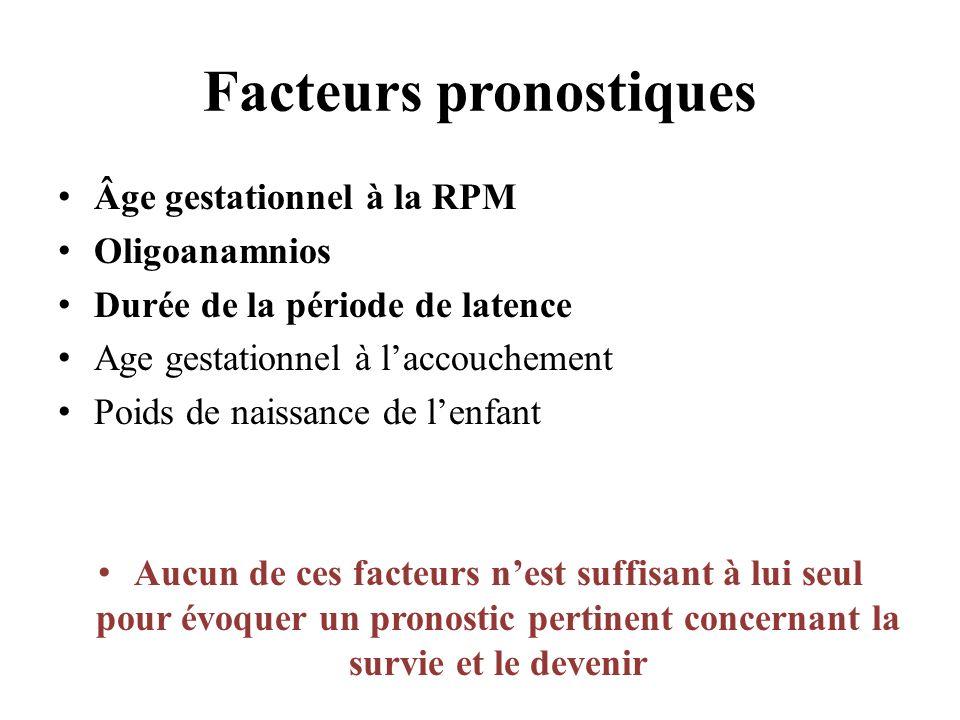 Facteurs pronostiques Âge gestationnel à la RPM Oligoanamnios Durée de la période de latence Age gestationnel à laccouchement Poids de naissance de lenfant Aucun de ces facteurs nest suffisant à lui seul pour évoquer un pronostic pertinent concernant la survie et le devenir