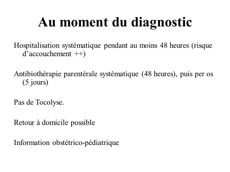 Au moment du diagnostic Hospitalisation systématique pendant au moins 48 heures (risque daccouchement ++) Antibiothérapie parentérale systématique (48 heures), puis per os (5 jours) Pas de Tocolyse.