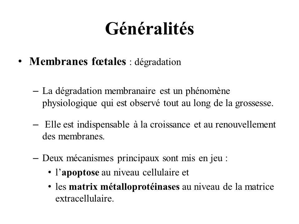 Généralités Membranes fœtales : dégradation –La dégradation membranaire est un phénomène physiologique qui est observé tout au long de la grossesse. –