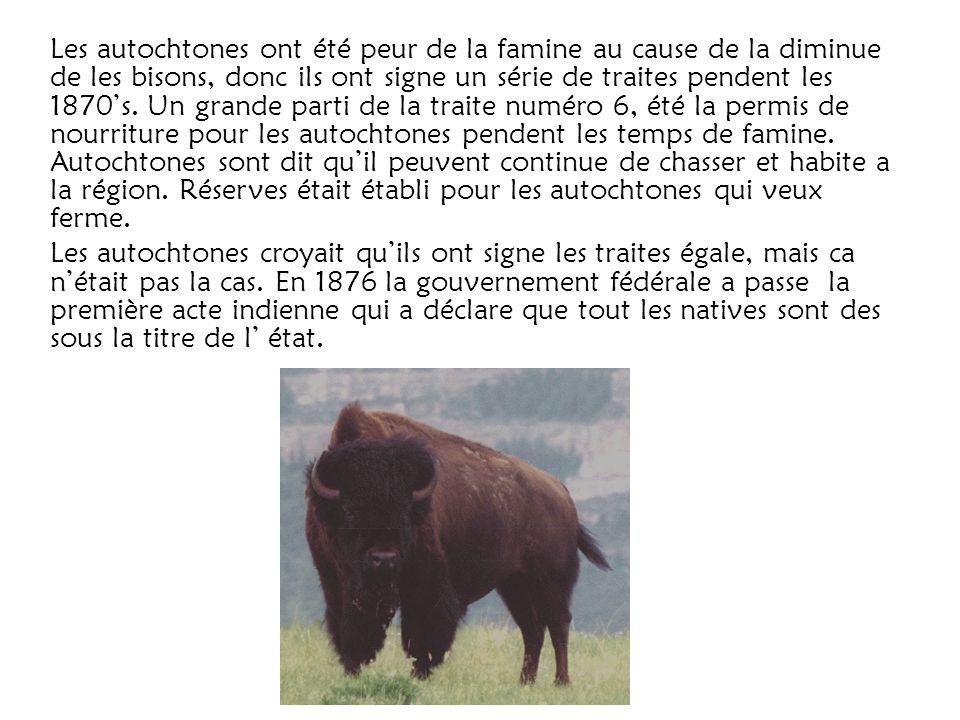 Les autochtones ont été peur de la famine au cause de la diminue de les bisons, donc ils ont signe un série de traites pendent les 1870s. Un grande pa