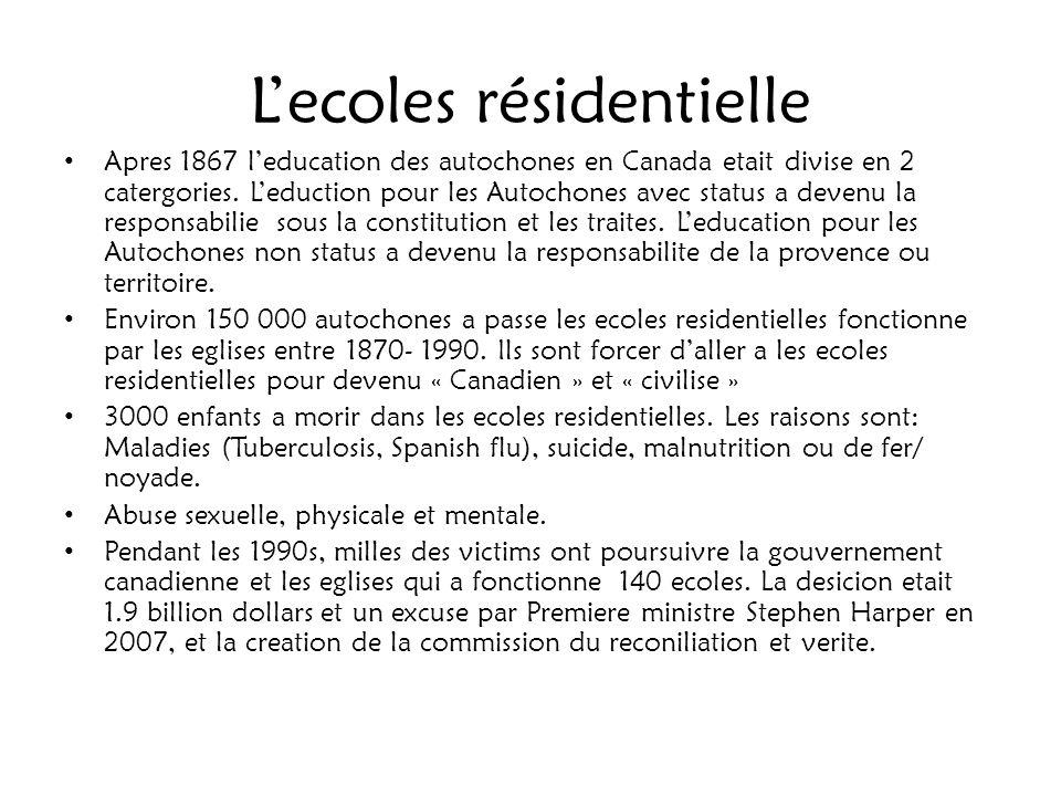 Lecoles résidentielle Apres 1867 leducation des autochones en Canada etait divise en 2 catergories. Leduction pour les Autochones avec status a devenu