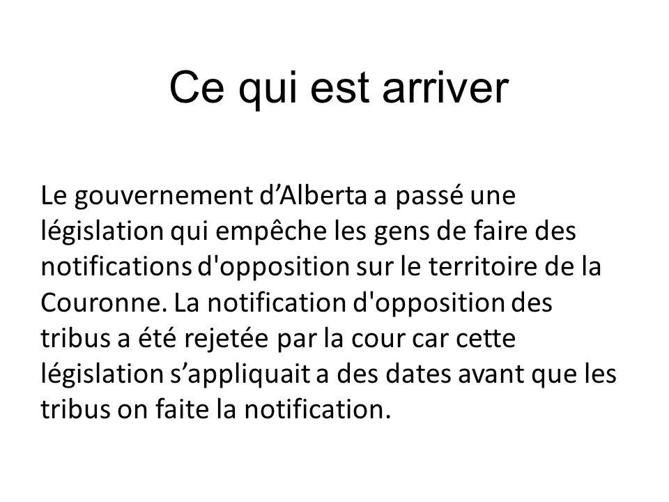 Le gouvernement dAlberta a passé une législation qui empêche les gens de faire des notifications d'opposition sur le territoire de la Couronne. La not
